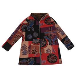Más el tamaño de la moda étnica online-EAS-Winter Fashion Women Retro Chaqueta de manga larga caliente Outwear con capucha étnica impresa capa más tamaño ropa