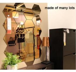 2019 decorazione specchi soggiorno 7 pz Pack 3D Specchio Hexagon Vinile Rimovibile Wall Sticker Decal Home Decor Art FAI DA TE Decorazione Della Parete Adesivi Home Decor Soggiorno decorazione specchi soggiorno economici