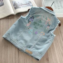 2019 jeans boutique all'ingrosso Commercio all'ingrosso Boutique Bambini Primavera maglia del denim dei jeans della ragazza del bambino del panciotto del fiore di farfalla ricamo Casual Fashion Autunno Vest jeans boutique all'ingrosso economici