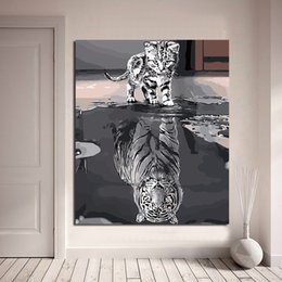 decorazione della vernice dell'olio della tigre Sconti Cat Tiger Wallpaper Cute Animal Wall Art Canvas minimalista Abstract Poster Stampe dipingere quadri olio parete camera da letto Home Decor