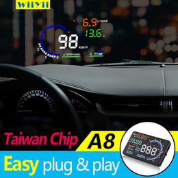 2020 a8 hud A8-OBD2-HUD GPS Head Up Display veicolo Tachimetro del parabrezza dell'automobile projetor a8 hud economici