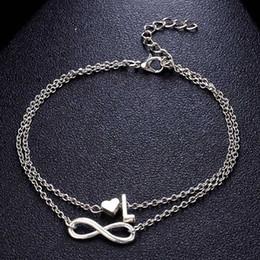 2019 новинка женщины 26 букв лодыжки браслет символ бесконечности простое металлическое сердце ножной браслет босоножки босоножки цепи ног ювелирные изделия от