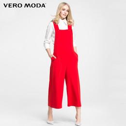 Jumpsuit marca elegante on-line-Marca Vero Moda 2018 Novo Regular Ol-estilo Estilo Americano Elegante Suspender Macacões Ol-estilo Mulheres Macacão Perna Larga | 316144027 Y19062901