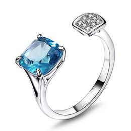 Süße jubiläumsgeschenke online-Neueste Mode Ringgröße in 5-10 quadratische blaue Farbe Bestnote Zirkonia Schmuck Sweet Look Schmuck Ringe Jubiläumsgeschenk