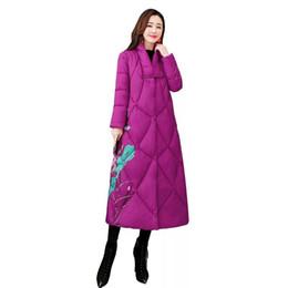 Roupas senhoras chinesas on-line-Retro impressão moda elegante para baixo algodão terno de algodão, senhoras inverno nova gola longa solto roupas de estilo chinês