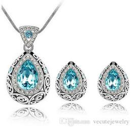Set di gioielli di alta qualità di lusso vintage design placcato argento colorato cristallo Swarovski orecchini collana per gioielli da sposa donna da