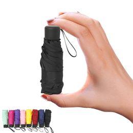 cuchillos de apoyo Rebajas 10 colores Mini paraguas de bolsillo Mujeres UV Sombrilla Paraguas Pequeño niñas Anti-UV a prueba de agua portátil ultraligero Trave MMA2292