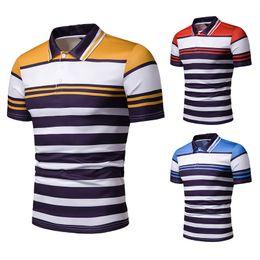 camisa поло случайная мужская Скидка Летние повседневные рубашки поло с коротким рукавом для мужчин. Новые рубашки поло в полоску. Мужчины.