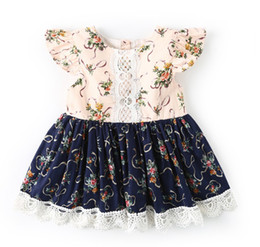 28b696c66a01 Baby Girls Dress New Kids Fashion Vintage Print Flowers Lace Patchwork Dress  Summer Children Fly Sleeves Princess Dresses Clothing 2 Colors