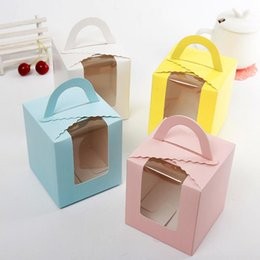 mousse cups Coupons - Free shipping single cupcake boxes with window with handle macaron box mousse cake box 4 colors LX7444