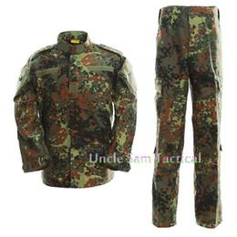Alman Kamuflaj Ordu Üniforma Kamuflaj Takım Elbise Paintball Giyim Combat Pantolon + Taktik Gömlek cheap army camo uniforms nereden ordu camo üniformaları tedarikçiler