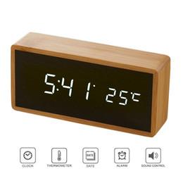 Светодиодные деревянные часы онлайн-Бамбук деревянные зеркала будильники температура звуки управления Настольные часы с цифровыми часами электронные светодиодные часы Despertador