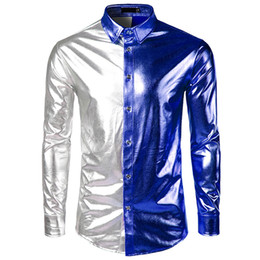 bright collar shirt Coupons - Spring Autumn Men's Shirts Long Sleeve Bright Surface Coating Slim Fit Performance show White Male Social Shirts Tops Clothing