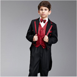 pajarita de tweed harris Rebajas Moda Niños Boda Tailcoats de tres piezas (Blazer + Pant + Bow Tie) con muesca solapa muchachos guapo alto Qulaity Etapa Mostrar rendimiento traje