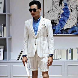 2019 mens moda calças de linho Moda Stripe Linen Noivo Casamento Tuxedos Pico Lapela Mens Prom Jantar Melhor Homem Blazer Ternos (Jacket + Calças) desconto mens moda calças de linho