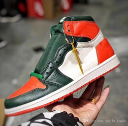 a7f0721ed2916 2019 SoleFly x 1 High OG Mens Basketball Shoes Top Quality Black Team  Orange-Fir Green 1s Man Sports Jumpman Sneakers With Original Box