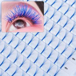 olhos azuis cílios falsos Desconto Cor Azul As pestanas falsas 6D russo Volume pestanas falsas 0,07 Espessura C Onda Handmade Eye Lash Extension