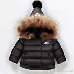Abrigo de conejo para niños online-ANUNCIO Marca Amarillo Logo Kids Coat Baby Boys Girls Winter Coat Size 1-6T Childrens Winter Coat Kids Down Cotton Abrigos Conejo Collar de pelo
