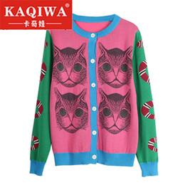 2019 patrón de gato de punto 2018 Spring Knitting Snake Cat Pattern Novedad Jumper Lady Top pull sueter mujer Suéter Runway Design Knit Cardigan Suéter patrón de gato de punto baratos