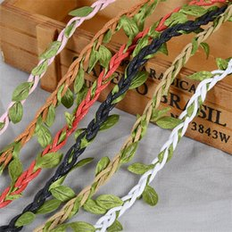 wholesale decorative indoor trees Coupons - 10m Artificial Vine Leaf Decorative Ropes Clothing Accessories Tree Leaves Rope Black Brown Decoration Articles New Arrival 5 5bj L1