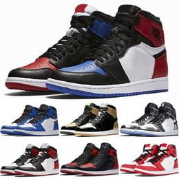 2019 mens 13 scarpe alte 1 High OG Mens Scarpe da Basket Banned Bred Toe Shadow Gold Top Migliori scarpe di design di qualità 1S Mens Athletics Sneakers Trainers 7-13 mens 13 scarpe alte economici