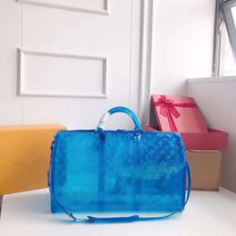Bolso de playa azul online-Carta transparente bolso de viaje azul bolsa de equipaje de viaje de las mujeres totes bolso bolsa de deporte de la playa de verano gimnasio moda bolsos FFA2165