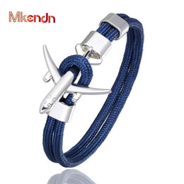 Pulseras de avion online-MKENDN s Hombres Mujeres Charm Survival Rope Chain Paracord Bracelet Metal Airplane Hooks Summer Style homme jewelry