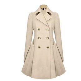 Женские пальто зимнее пальто мода твердое пальто отложным воротником тонкий верхняя одежда кнопка черный темно-бежевый одежда оптом от Поставщики блеск кроссовки для мужчин