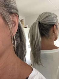 Обернутый в волосы конский хвостик онлайн-Серебристо-серый человеческих волос пони хвост шиньон обернуть вокруг красителя бесплатно природных hightlight соль и перец седые волосы хвост