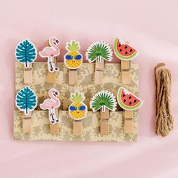 paper fruit notes Promo Codes - 10 pcs pack Fruit Flamingo Wooden Clip Photo Craft DIY Decoration Notes Letter Paper Clip with Rope Office School Supplies