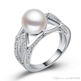 Argentina Exquisita Venta de Joyas estilo europeo y americano moda salvaje dama plateada con incrustaciones de perlas anillo de cobre chapado anillo de plata circón Suministro