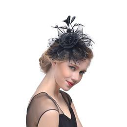 Plumas baratas de la boda online-Pluma neta barata de la boda nupcial Fascinator sombreros para la noche fiesta de baile usar accesorios mascarada cabeza lleva barato CPA1993