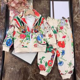 Группа тигров онлайн-Детская дизайнерская одежда 2019 Tiger Flower Luxury Band Толстовка с капюшоном Брюки костюм Повседневный стиль Толстовка Брюки Мальчики и девочки Спортивный костюм