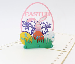 pop ups card Promo Codes - 3D Pop Up Easter Greating Card Rabbit Bunny Happy Easter Blessing Card Easter Festival party Supplies