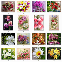 diamond sticker painting Promo Codes - 5D DIY Diamond Flower Cross Embroidery Diamond Embroidery Diamond Wall Stickers Home Decoration Vase Free shipping