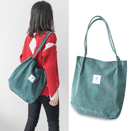 518126d67cd5 2019 High Capacity Women Corduroy Tote Ladies Casual Shoulder Bag Foldable  Reusable Shopping Beach Bag WML99