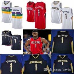 split sport trikots Rabatt NCAA Zion 1 Williamson Weiß Blau Rot Weiß College-Basketball-Trikots