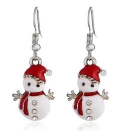 2019 neve natalizie Orecchino di Natale Fascino Piuttosto gioielli da donna Snow Man Xmas Tree strass Orecchini Babbo Natale neve natalizie economici
