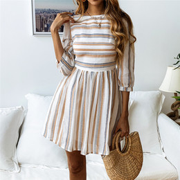 57d7076035b 2019 Women 3 4 Sleeve Striped Summer Dresses Elastic Waist Tunic T-Shirt  Dress Casual Striped Half Sleeve A Line Short Dress elastic waist shirt  promotion