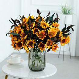 Argentina Girasol flor artificial girasol decoración del hogar ramo de flores de la boda flor falsa sala de estar decoración de la mesa de comedor Suministro