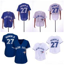 Детские бейсбольные рубашки онлайн-27 Владимир Герреро младший Блу Джейс Джерси Синий Белый Мужчины Женщины Дети Бейсбол Джерси 100% Сшитая спортивная рубашка Высокое качество!