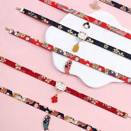 2019 muñeca japonesa Summer Classic Japanese Style Ribbon Rope Doll Gargantilla Cute Romantic Women Girls Bird Cat Carp Colgante Collar corto Joyería rebajas muñeca japonesa