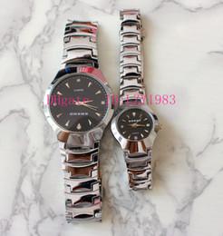 Bandas de relógio de tungstênio on-line-Relógio de negócios dos homens de alta qualidade moda masculina e feminina amantes relógio de quartzo atacado modelo de banda de aço de tungstênio