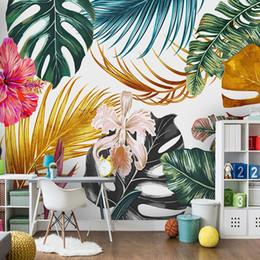 Flores de papel tapiz de la vida moderna online-Papel tapiz fotográfico moderno 3D Acuarela Plantas doradas Hojas Flores Pintura mural Sala Comedor Impermeable Murales de lona