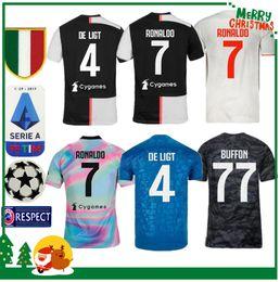 Kits de futbol de italia online-19 20 Juventus Ronaldo DYBALA PJANIC DE LIGT camiseta de fútbol 2019 2020 Italia BUFFON Equipación de hombre y niños adultos JUVE camiseta deportiva de fútbol