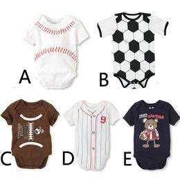 Wholesale Romper - Newborn Jumpsuits Spring Baseball Football Necktie print ins romper Baseball Softball Short Sleeve Toddler Infant Clothing MMA1870