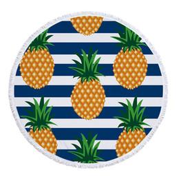 Runde Badetuch Ananas bedruckt mit Quaste 10 Arten Mikrofaser Tropenpflanzen bedruckt Strandtücher Yoga-Matte Beste Badetuch Übergröße von Fabrikanten
