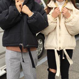 abrigos de invierno de diseño coreano Rebajas 2 colores 2018 coreano estilo elegante chaqueta de las mujeres del invierno chaquetones diseño grueso de algodón acolchado abrigos y chaquetas para mujer (c1031)