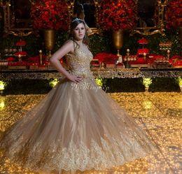 Robes de Quinceanera or 2020 pure Sheet cou étage longueur Appliques Formelle robes de soirée de bal pour Sweet 15 robes de 15 ans Plus la taille ? partir de fabricateur