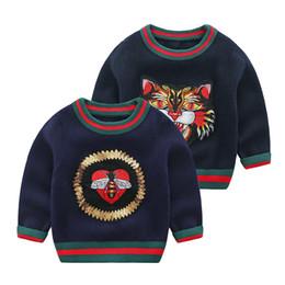 Kleinkind kleider jungen 24 monate online-Baby-Fall-Winter-Kleidung Neugeborene Jungen Strickpullover Pullover Baby-Strickwaren Tops Kleinkind- Kleidung Jacken-Mantel-Strickjacke 3-24 Monate Pullover